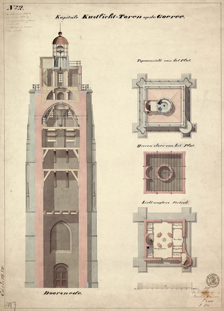 Bouwtekening van de kerktoren uit 1832