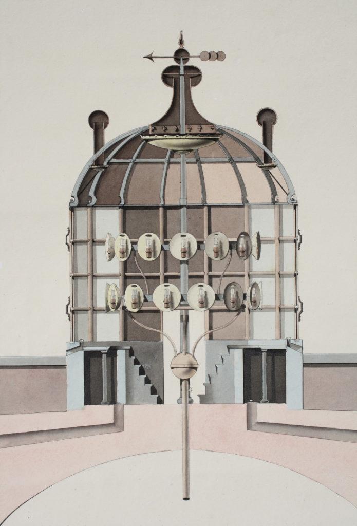 De lantaarn en het lichttoestel met Argandse lampen uit 1818.